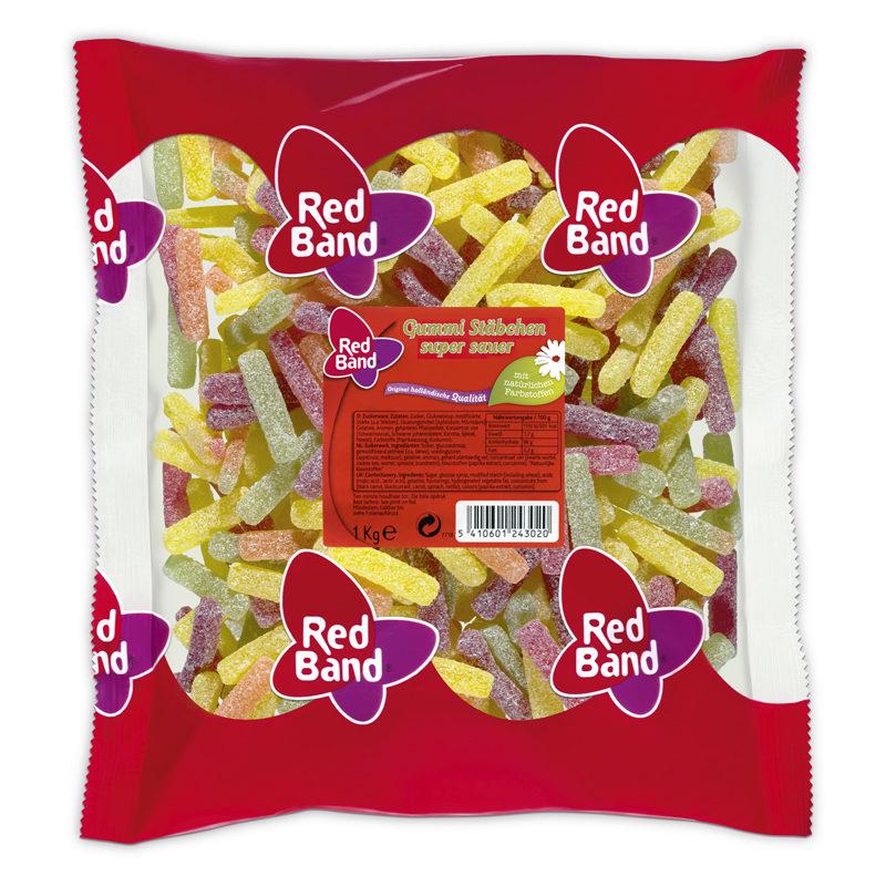 Red Band Gummi Stäbchen super sauer Beutel 1kg