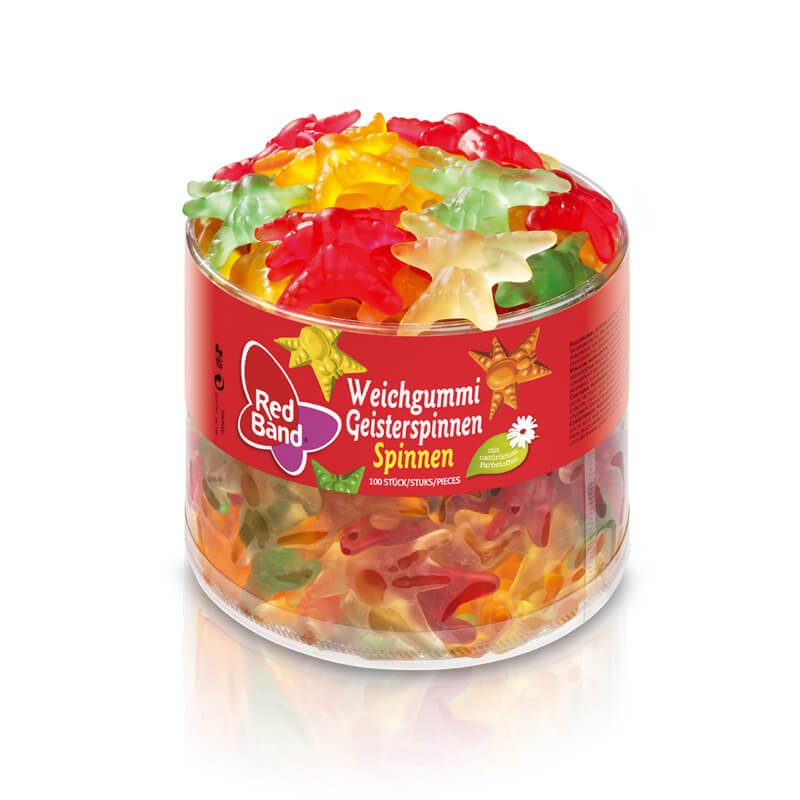 Red Band Weichgummi GeisterspinnenRed Band Weichgummi Geisterspinnen Klarsichtdose 100 Stk.